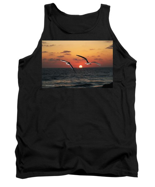 Tank Top featuring the photograph Black Skimmers At Sunset by Tom Janca