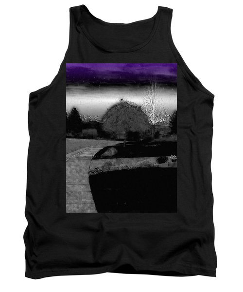 Blackbird In Tree Under Purple Night Sky Tank Top
