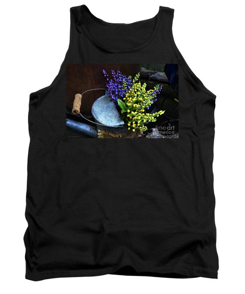 Blue And Yellow Flowers Tank Top by Mary Machare