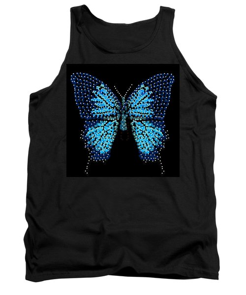 Blue Butterfly Black Background Tank Top