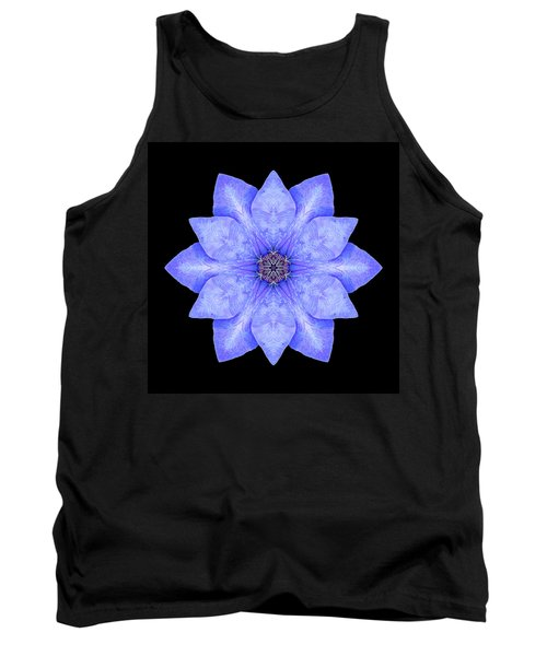 Tank Top featuring the photograph Blue Clematis Flower Mandala by David J Bookbinder
