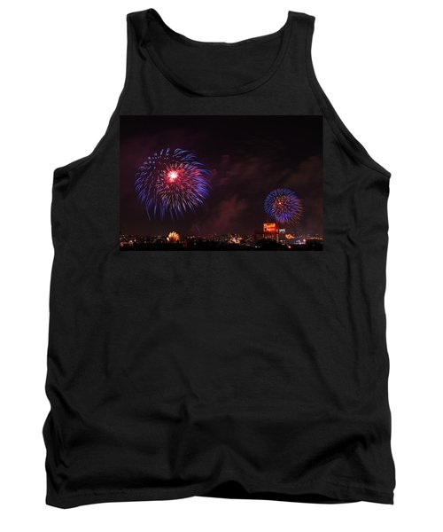 Blue Fireworks Over Domino Sugar Tank Top