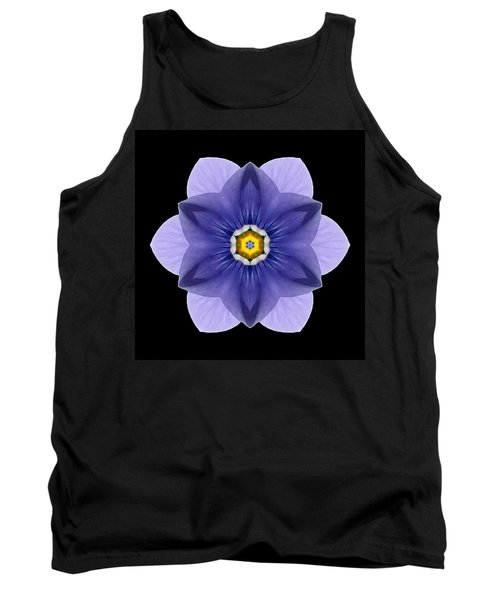 Tank Top featuring the photograph Blue Pansy I Flower Mandala by David J Bookbinder