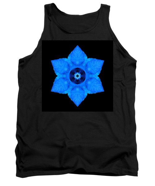 Tank Top featuring the photograph Blue Pansy II Flower Mandala by David J Bookbinder