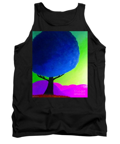 Tank Top featuring the painting Blue Tree by Anita Lewis