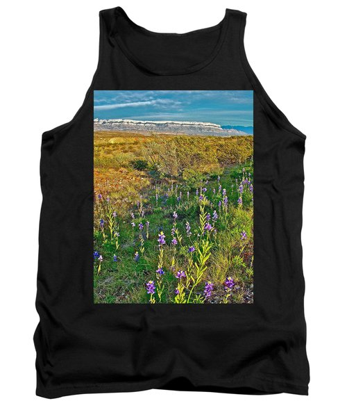 Bluebonnets And Creosote Bushes In Big Bend National Park-texas Tank Top
