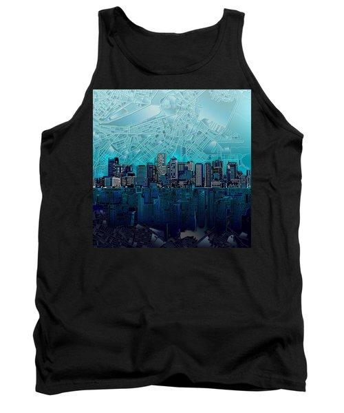 Boston Skyline Abstract Blue Tank Top