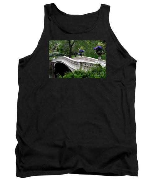 Bow Bridge Flower Pots - Central Park N Y C Tank Top by Christiane Schulze Art And Photography