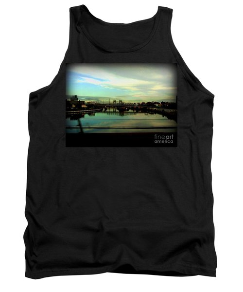 Tank Top featuring the photograph Bridge With White Clouds by Miriam Danar