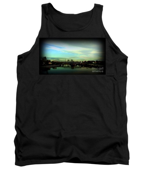 Tank Top featuring the photograph Bridge With White Clouds Vignette by Miriam Danar