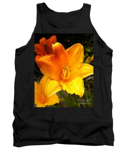 Bright Yellow Daylily Flower Tank Top