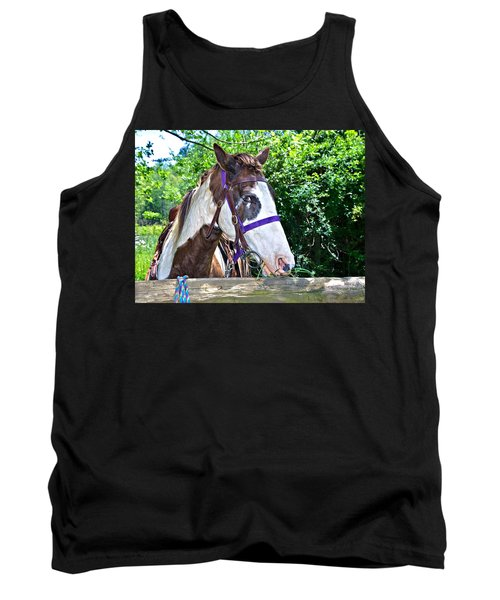 Tank Top featuring the photograph Brown And White Horse by Susan Leggett