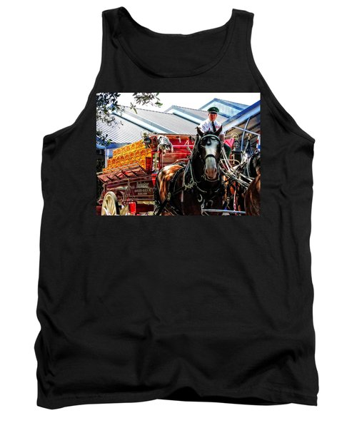 Tank Top featuring the photograph Budweiser Beer Wagon by Mike Martin