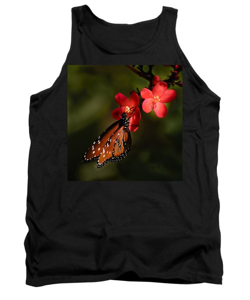Butterfly On Red Blossom Tank Top