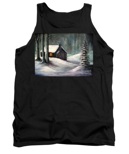 Tank Top featuring the painting Cabin In The Woods by Hazel Holland