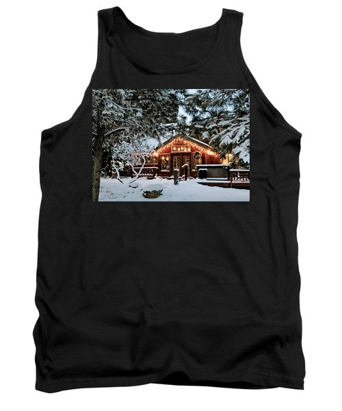 Cabin With Christmas Lights Tank Top