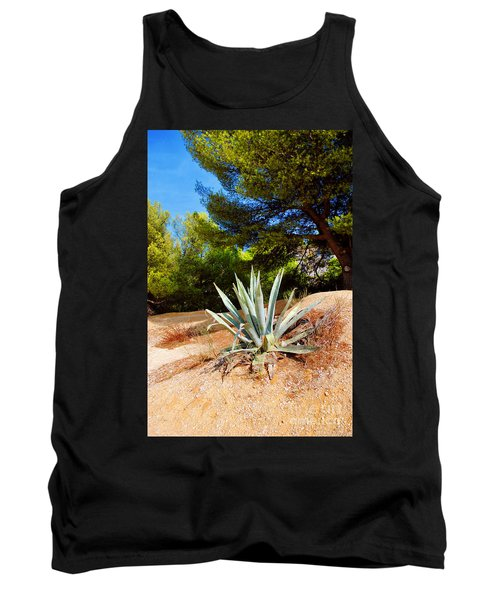 Tank Top featuring the photograph Cactus On A Rocky Coast Of French Riviera by Maja Sokolowska