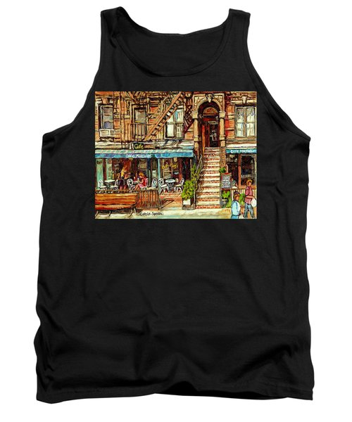 Cafe Mogador Moroccan Mediterranean Cuisine New York Paintings East Village Storefronts Street Scene Tank Top