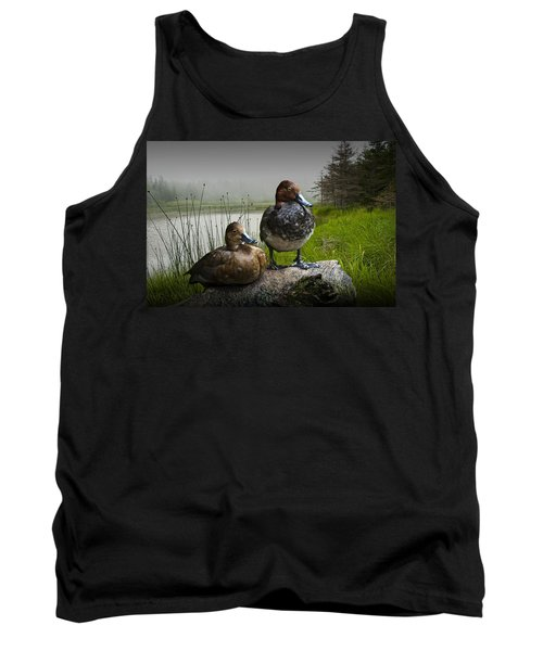 Canvasback Duck Pair By A Pond Tank Top by Randall Nyhof