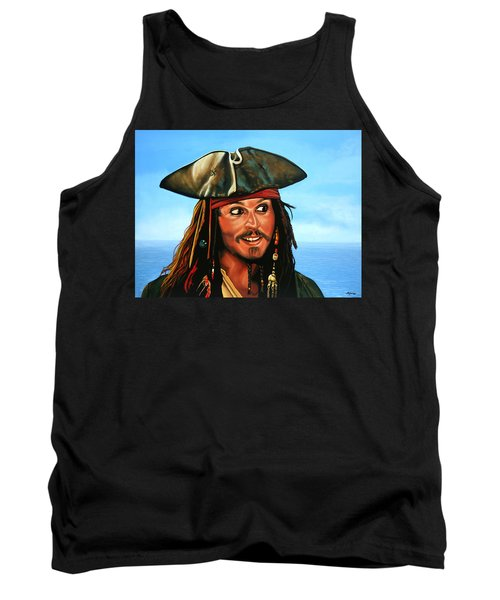 Captain Jack Sparrow Painting Tank Top by Paul Meijering