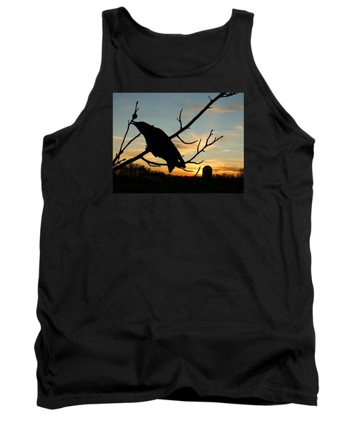 Cawcaw Over Sunset Silhouette Art Tank Top by Lesa Fine