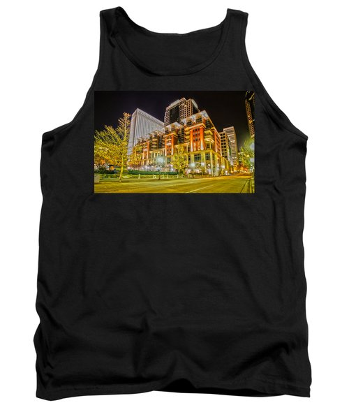 Tank Top featuring the photograph Charlotte City Skyline Night Scene by Alex Grichenko