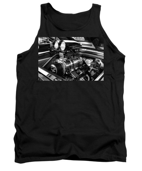 Chevy Supercharger Motor Black And White Tank Top by Jonathan Davison