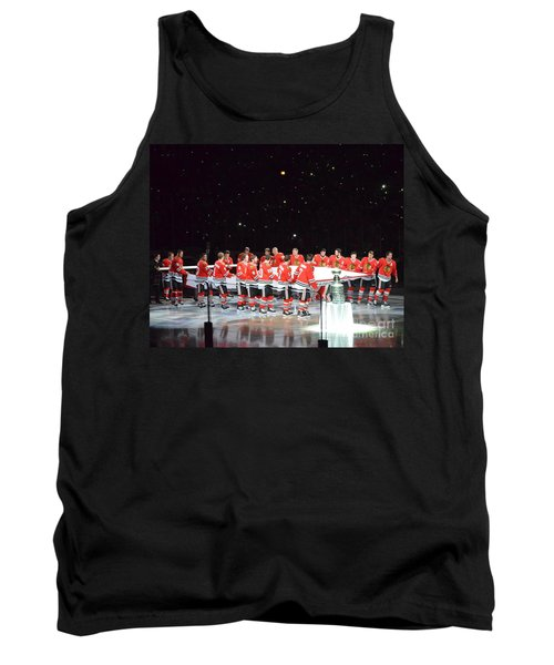 Tank Top featuring the photograph Chicago Blackhawks And The Banner by Melissa Goodrich