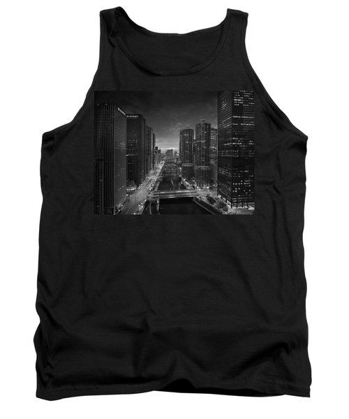 Chicago River Sunset B W Tank Top