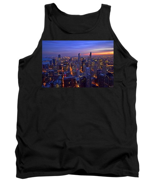 Chicago Skyline At Dusk From John Hancock Signature Lounge Tank Top by Jeff at JSJ Photography