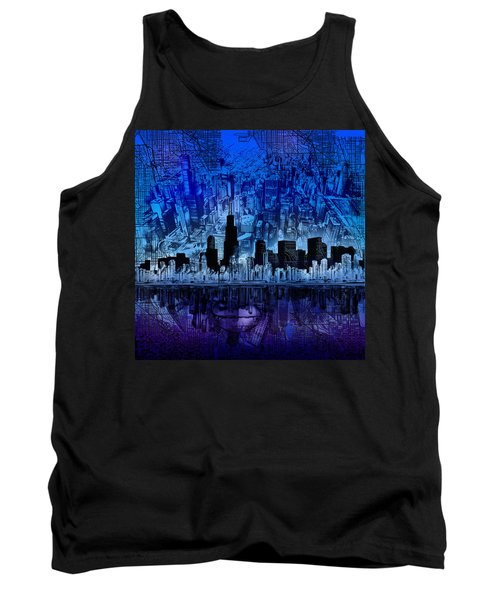 Chicago Skyline Blue Version Tank Top