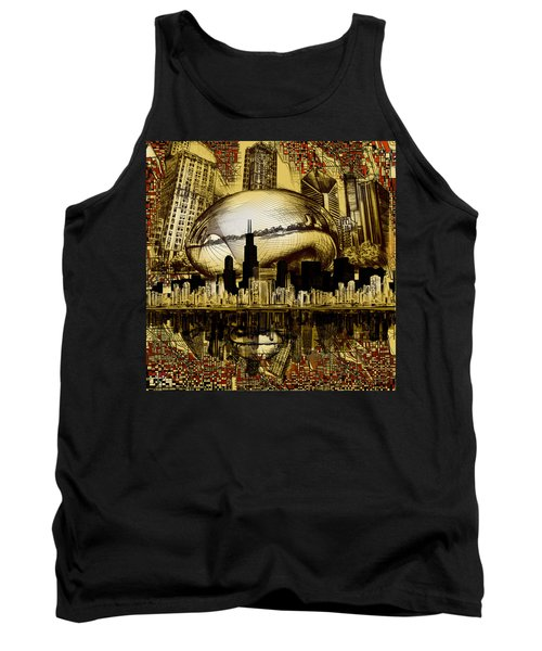Chicago Skyline Drawing Collage 3 Tank Top