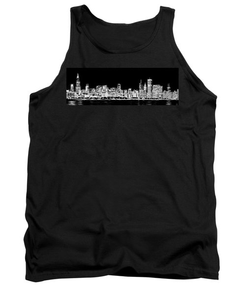 Chicago Skyline Fractal Black And White Tank Top