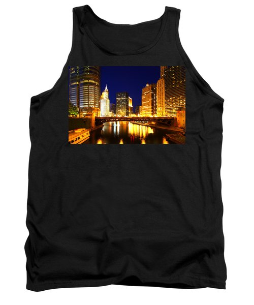 Chicago Skyline Night River Tank Top