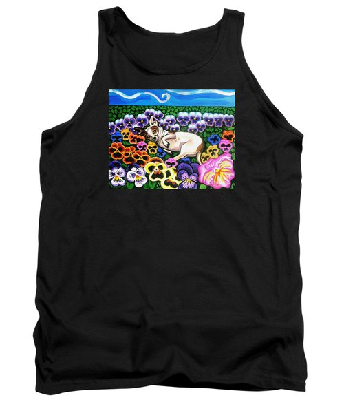 Chihuahua In Flowers Tank Top by Genevieve Esson