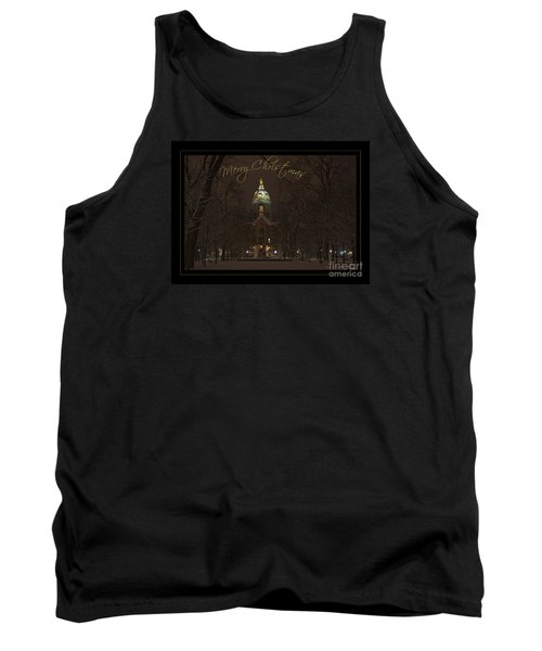 Christmas Greeting Card Notre Dame Golden Dome In Night Sky And Snow Tank Top by John Stephens