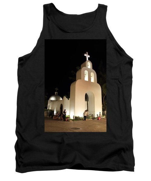Church At Night In Playa Del Carmen Tank Top