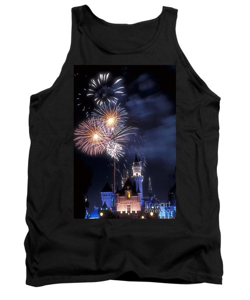 Cinderella Castle Fireworks Iconic Fairy-tale Fortress Fantasyland Tank Top by David Zanzinger