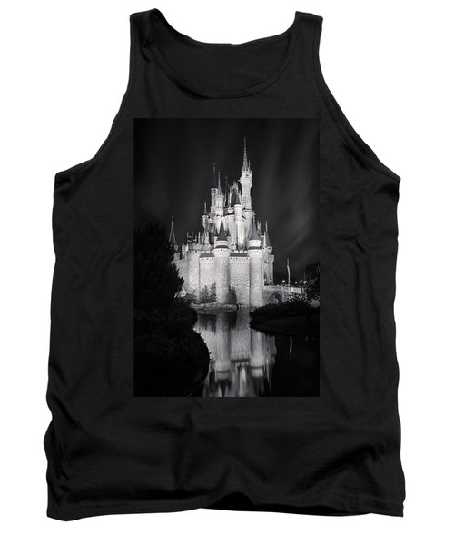 Cinderella's Castle Reflection Black And White Tank Top