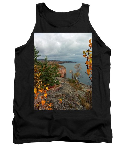 Tank Top featuring the photograph Cliffside Fall Splendor by James Peterson