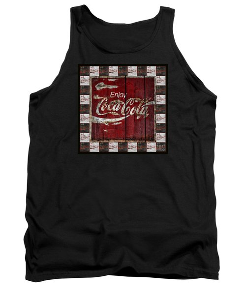 Coca Cola Sign With Little Cokes Border Tank Top by John Stephens