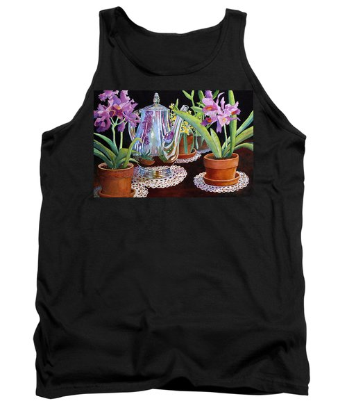 Tank Top featuring the painting Coffee And Flowers by Roger Rockefeller