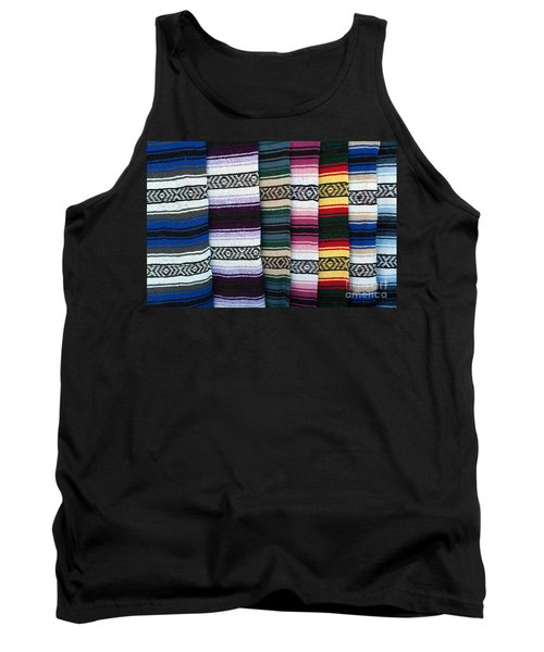 Tank Top featuring the photograph Colorful Indian Rug Display by Gunter Nezhoda