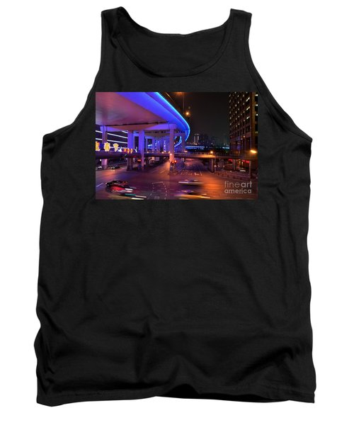 Colorful Night Traffic Scene In Shanghai China Tank Top by Imran Ahmed