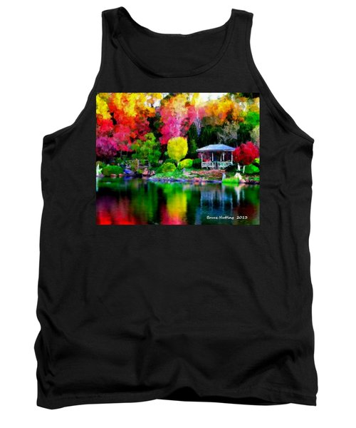 Tank Top featuring the painting Colorful Park At The Lake by Bruce Nutting