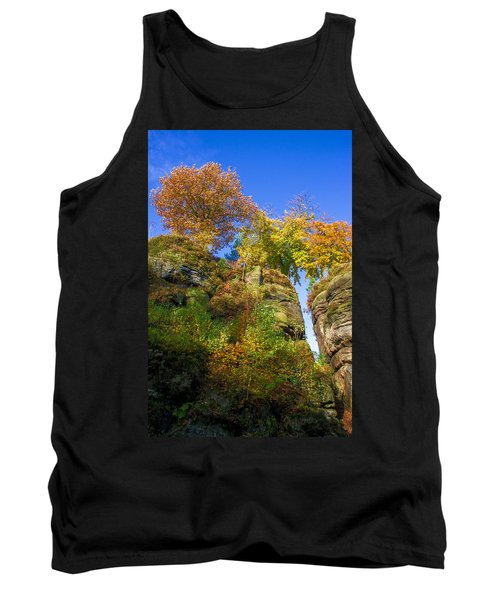 Colorful Trees In The Elbe Sandstone Mountains Tank Top