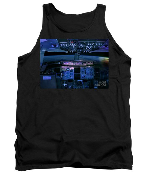 Commercial Airplane Cockpit By Night Tank Top