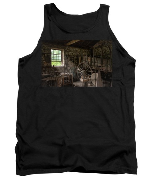 Tank Top featuring the photograph Conestoga Wagon At The Blacksmith - Wagon Repair by Gary Heller