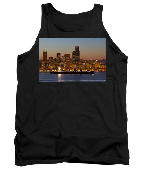 Tank Top featuring the photograph Container Ship On Puget Sound Along Seattle Skyline by JPLDesigns