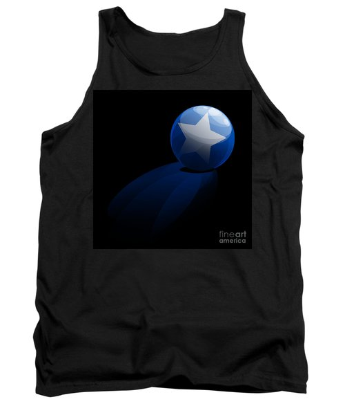 Tank Top featuring the digital art Blue Ball Decorated With Star Grass Black Background by R Muirhead Art